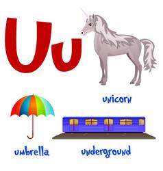 Cute kids cartoon alphabet letter u vector