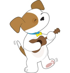 cute puppy ukulele vector image