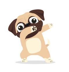 Dabbing pug cool cartoon vector