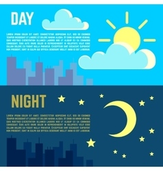 Day and night banners flat sun moon symbols vector