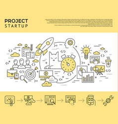 Digital yellow startup business vector