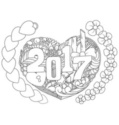 Doodles hand drawn 2017 year with symbol and new y vector