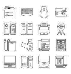Electronic devices thin line signs vector
