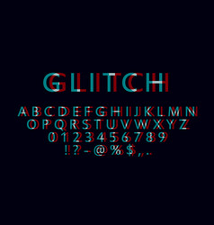 english letters numbers and symbols with glitch vector image