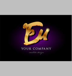 eu e u 3d gold golden alphabet letter metal logo vector image