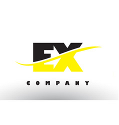 Ex e x black and yellow letter logo with swoosh vector