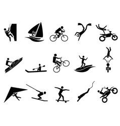 Extreme sports icon set vector