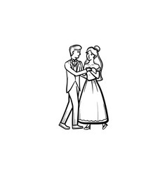 First wedding dance hand drawn sketch icon vector
