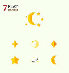 Flat icon night set of nighttime star night and vector
