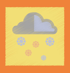 Flat shading style icon cloud snow vector