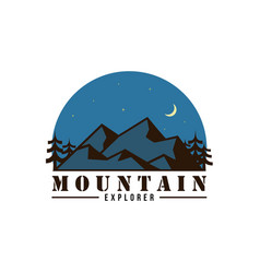 forest mountain adventure at night logo vector image