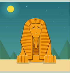 Front view sphinx at night time landscape vector