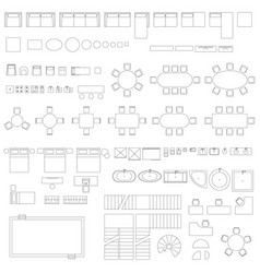 Furniture and elements line symbols vector
