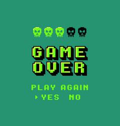 game over screen pixel 8 bit final vector image