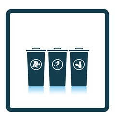 Garbage containers with separated trash icon vector image