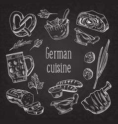 german traditional food hand drawn doodle vector image
