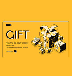 gift wrapping service isometric website vector image