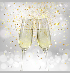 Glasses with champagne on a background confetti vector