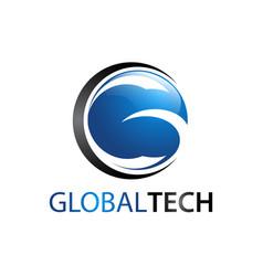 global tech circle letter g logo concept design vector image
