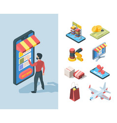 goods sale store online isometric set character vector image