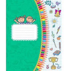 green cover school notebook in cage vector image