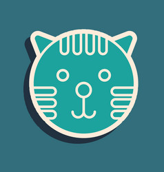 Green tiger zodiac sign icon isolated on blue vector