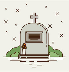 grey gravestone with cross on green grass flat vector image