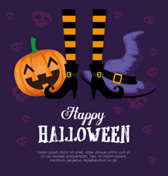 Halloween card with witch feets and pumpkin vector