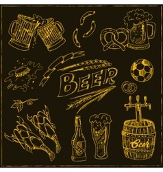 Hand drawn set with beer vector