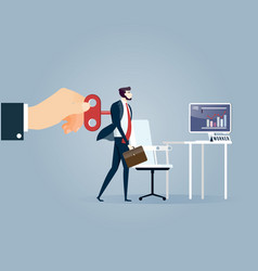 Hand turning winder on business persons back vector