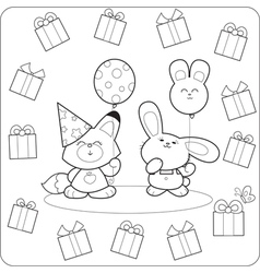 Happy birtday Cute coloring animals vector image
