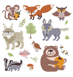 Happy cartoon and funny wood animals in forest vector
