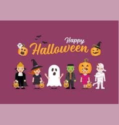 Happy halloween children in scary different vector