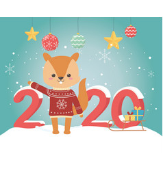 happy new year 2020 celebration cute squirrel vector image