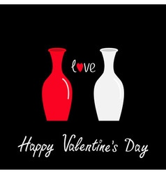 Happy Valentines Day Love card Vase icon set vector image