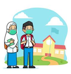 high school islamic student character wearing vector image