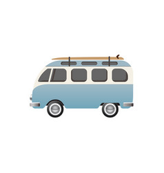 hippie bus with surfboard vector image