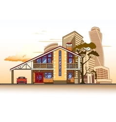 House high-rise buildings tree and clouds vector