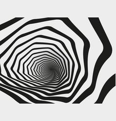 Hypnotic swirl tunnel spiral striped geometric vector
