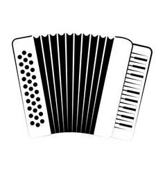 Isolated accordion outline musical instrument vector