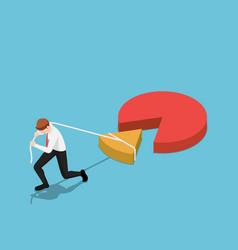 Isometric businessman drag a piece pie chart vector