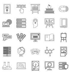 journal icons set outline style vector image