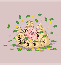 kitty lies happy on bags of money vector image