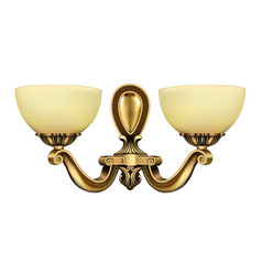 Lamp sconce bronze vintage on white background vector