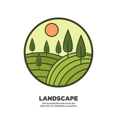 Landscape flat round logo icon isolated on white vector