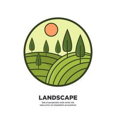 landscape flat round logo icon isolated on white vector image