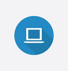laptop Flat Blue Simple Icon with long shadow vector image