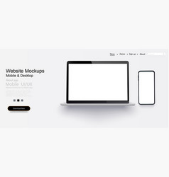 laptop mobile phone with blank screen vector image