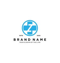 Letter z cross plus hospital medical logo design vector