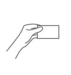 Linear business card in woman hand vector